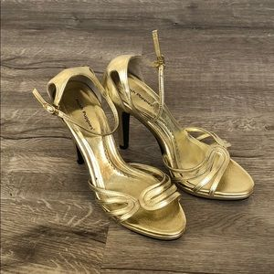 Hush Puppies Gold Ankle Strap Heels